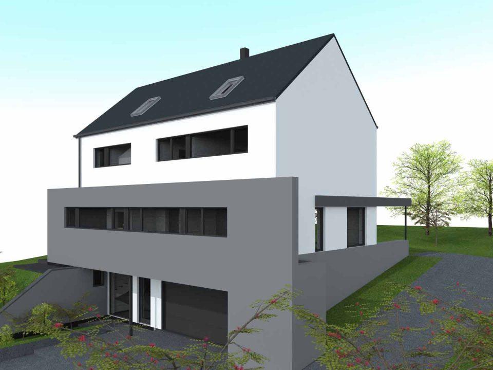 Geoffrey carion architecte à andenne / projet de construction d'une habitation unifamiliale en maçonnerie traditionnelle à Wasseige