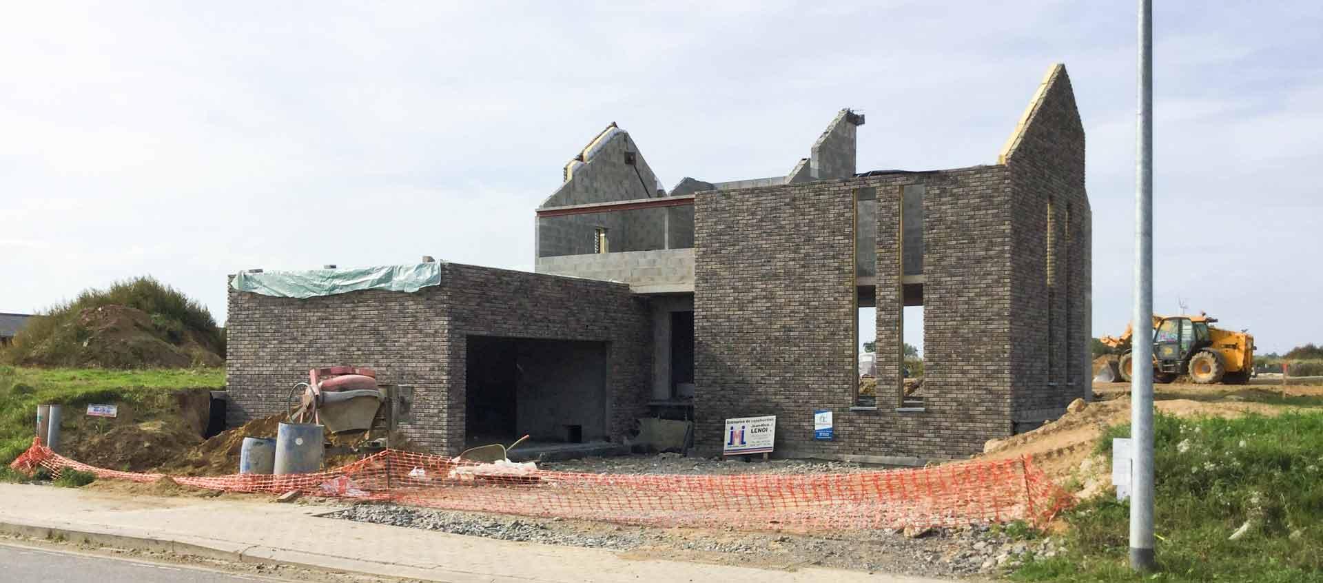 Habitation unifamiliale traditionnelle Geoffrey carion architecte à andenne / projet de construction d'une habitation unifamiliale en maçonnerie traditionnelle à Eghezée